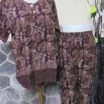 Baju tidur santai babydoll piyama batik dewasa celana panjang lengan pendek CP Blirik Cokelat