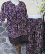 Baju tidur santai babydoll piyama batik dewasa celana panjang lengan pendek CP Blirik Dark
