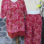 Baju tidur santai babydoll piyama batik dewasa celana panjang lengan pendek CP Blirik Maroon