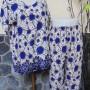Baju tidur santai babydoll piyama batik dewasa celana panjang lengan pendek CP Satelit biru