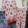Baju tidur santai babydoll piyama batik dewasa celana panjang lengan pendek CP Satelit cokelat