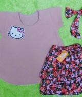 EXCLUSIVE Kado Bayi Setelan Baju Bayi 0-12bulan Atasan Wafel Plus Rok Turban Bandana Brown Cantik