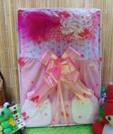 FREE KARTU UCAPAN Kado Lahiran Box Paket Kado Bayi Perempuan Cewek Baby Gift Dress Lil Love Pink Cantik 57 terdiri Dress bayi 0-9bln,bando serta sarung tangan dan kaki bayi
