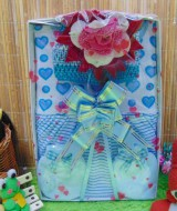 FREE KARTU UCAPAN Kado Lahiran Box Paket Kado Bayi Perempuan Cewek Baby Gift Dress Love Biru Bunga Cantik 57 terdiri Dress bayi 0-9bln,turban serta sarung tangan dan kaki bayi