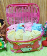 FREE TAS Kado Bayi Paket 12pcs celana pop kacamata bayi bordir aneka warna 45 isi 12pcs,warna mix pink,kuning,biru,warna tas random,muat utk 0-12bln,cocok tuk kado (1)