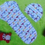 FREE TOPI bedong instant bayi rit ritsleting baby newborn motif pelaut biru plus topi 39 bahan kaos lembut,nyaman tuk baby,lebar dada 18cm,pjg 44cm