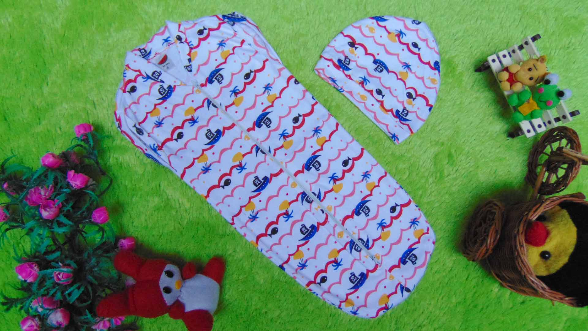 FREE TOPI bedong instant bayi rit ritsleting baby newborn motif pelaut merah plus topi 39 bahan kaos lembut,nyaman tuk baby,lebar dada 18cm,pjg 44cm