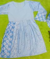 PALING MURAH Baju Muslim Gamis Anak Batita Perempuan Rainbow Biru Adem 1-2th Plus Hijab