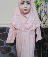 PALING MURAH Baju Muslim Gamis Anak Batita Perempuan Rainbow Peach Adem 2-3th Plus Hijab