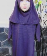 PALING MURAH Baju Muslim Gamis Anak Batita Perempuan Salur Ungu Adem 2-3th Plus Hijab