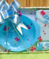 hadiah kado bayi murmer baby gift box feeding set plus setelan kaos bayi biru