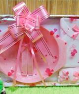 hadiah kado bayi murmer baby gift box feeding set plus setelan kaos bayi pink