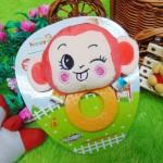 kado bayi mainan edukasi baby gift rattle krincingan plus gigitan motif happy monkey