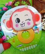 kado bayi mainan edukasi baby gift rattle krincingan plus gigitan motif happy monkey