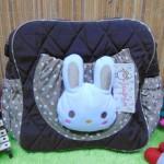 kado lahiran bayi baby gift tas perlengkapan bayi kelinci lucu cokelat polka