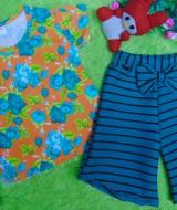 setelan kaos bayi perempuan 0-12bulan bunga1 kulot salur tosca 33 bahan kaos lembut,lebar dada 23cm,panjang baju 32cm,pjg celana30cm,silakan dicocokkan dg uk baby krn usia hny estimasi