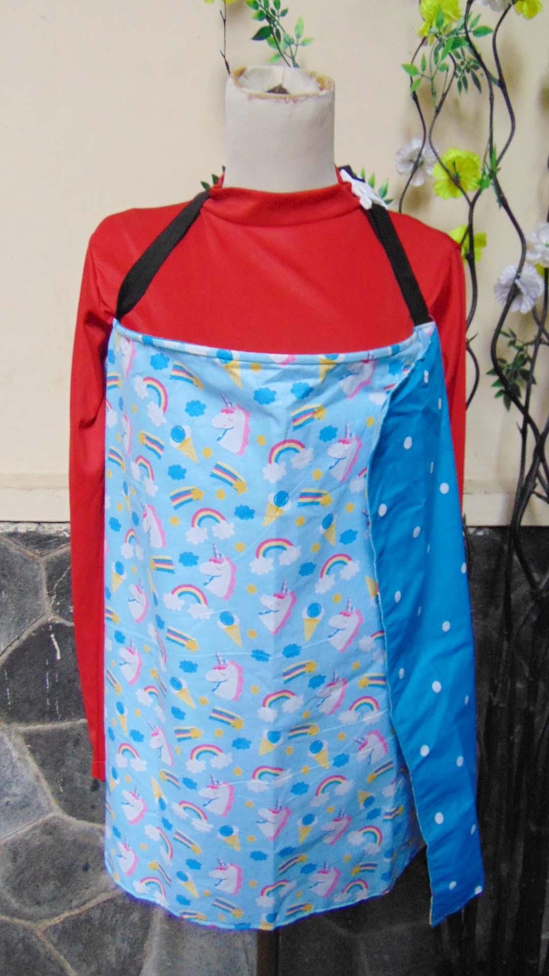 Kado Lahiran Bayi Nursing Cover Penutup Menyusui 2 In 1 Apron Motif Bolak Balik Celemek motif unicorn blue