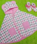 PAKET HEMAT kado bayi newborn eksklusif terbaik baby cape + booties cuddle me check pink