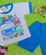 Setelan baju kaos karakter little bus tayo bis kecil anak bayi L 6-18bulan biru