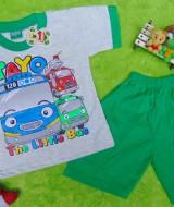 Setelan baju kaos karakter little bus tayo bis kecil anak bayi L 6-18bulan hijau