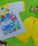Setelan baju kaos karakter little bus tayo bis kecil anak bayi L 6-18bulan kuning