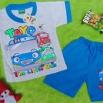 Setelan baju kaos karakter little bus tayo bis kecil anak bayi M 0-12bulan biru