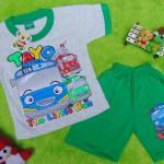 Setelan baju kaos karakter little bus tayo bis kecil anak bayi M 0-12bulan hijau