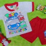 Setelan baju kaos karakter little bus tayo bis kecil anak bayi M 0-12bulan merah