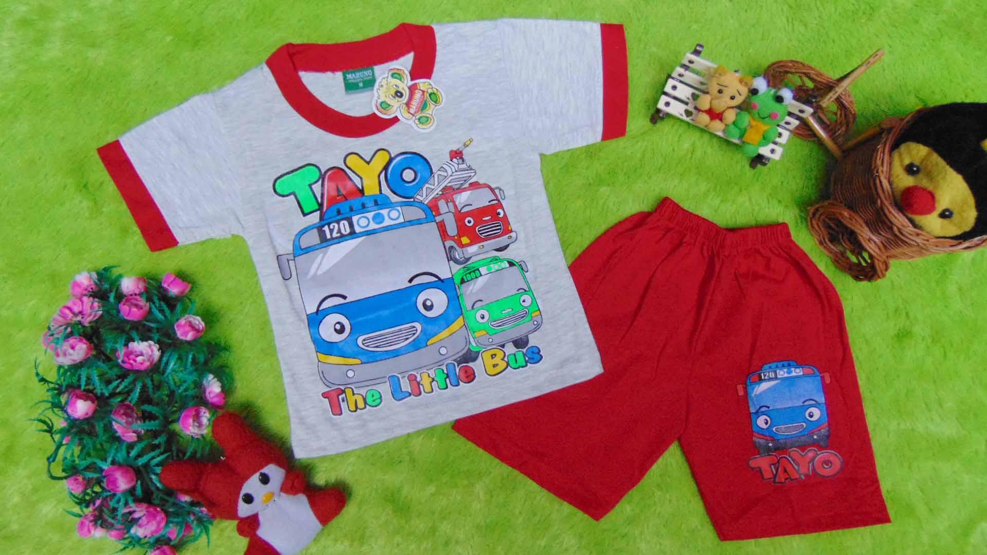Setelan Baju Kaos Karakter Little Bus Tayo Bis Kecil Anak Bayi M 0 12bulan Merah