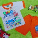 Setelan baju kaos karakter little bus tayo bis kecil anak bayi M 0-12bulan orange