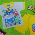 Setelan baju kaos karakter little bus tayo bis kecil anak bayi S 0-9bulan kuning