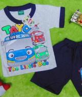 Setelan baju kaos karakter little bus tayo bis kecil anak bayi S 0-9bulan navy