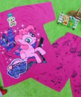 Setelan baju kaos karakter little pony anak 3-4th