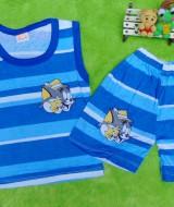 TERLARIS setelan kaos kutung bayi salur biru tom n jerry 22 lebar dada 25cm,pjg baju32cm,pjg clana 25cm,muat untuk usia 0-12 bulan,cocok untuk sehari-hari