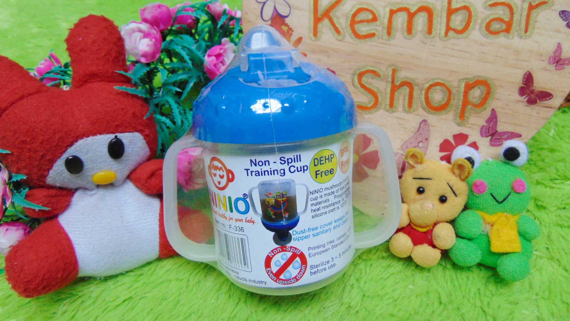 Training Spout Cup gelas minum bayi Anti Tumpah Tahan Panas Ninio BPA FREE biru (2)