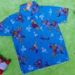 baju batik bayi anak laki-laki kemeja batik batita hem anak cowok uk 1-3th baju pesta motif biru cakep