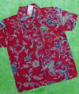 baju batik bayi anak laki-laki kemeja batik batita hem anak cowok uk 1-3th baju pesta motif merah sulur