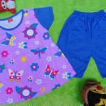 baju setelan kaos anak perempuan balita 3-5th all size butterfly ungu