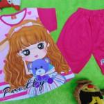 baju setelan kaos anak perempuan balita 3-5th all size pretty girl pink