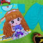 baju setelan kaos anak perempuan balita 3-5th all size pretty girl tosca