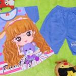 baju setelan kaos anak perempuan balita 3-5th all size pretty girl ungu