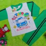 baju tidur piyama kaos panjang L bayi 6-18bulan motif karakter little bus tayo bis kecil hijau