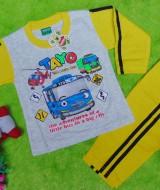 baju tidur piyama kaos panjang L bayi 6-18bulan motif karakter little bus tayo bis kecil hijau kuning