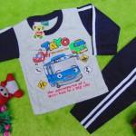 baju tidur piyama kaos panjang L bayi 6-18bulan motif karakter little bus tayo bis kecil hijau navy