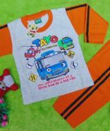 baju tidur piyama kaos panjang L bayi 6-18bulan motif karakter little bus tayo bis kecil hijau orange