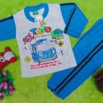 baju tidur piyama kaos panjang M bayi 0-12bulan motif karakter little bus tayo bis kecil biru