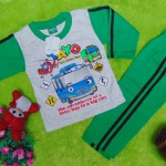 baju tidur piyama kaos panjang M bayi 0-12bulan motif karakter little bus tayo bis kecil hijau