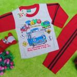 baju tidur piyama kaos panjang M bayi 0-12bulan motif karakter little bus tayo bis kecil merah