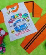baju tidur piyama kaos panjang M bayi 0-12bulan motif karakter little bus tayo bis kecil orange