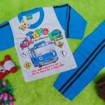 baju tidur piyama kaos panjang bayi 0-9bulan motif karakter little bus tayo bis kecil biru